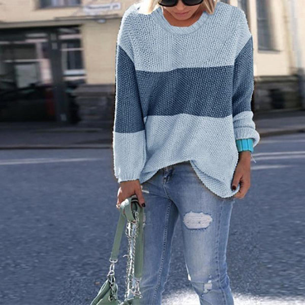 Loose Round-Neck Long Sleeve Stripe Sweater
