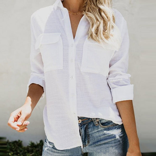 Daily Casual V Neck Solid Color Blouse