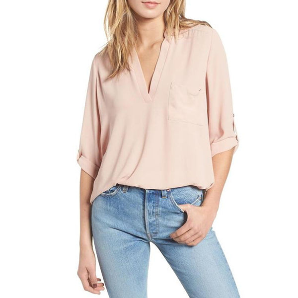 Women Solid Color V-Neck 3/4 Sleeve Loose Blouses