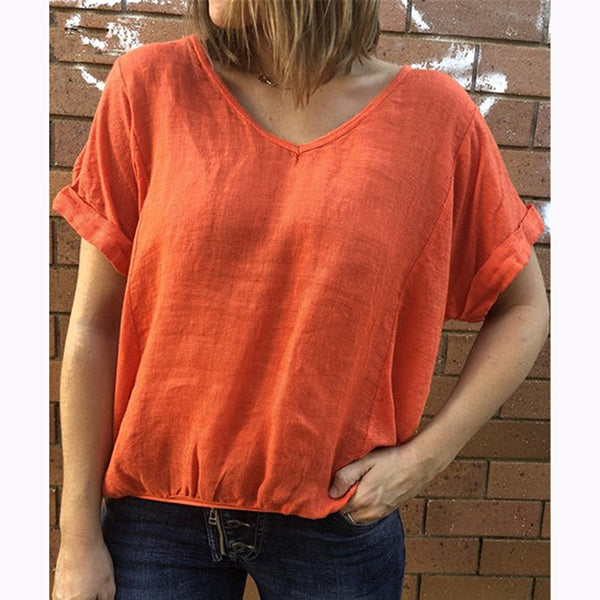 Solid Color Daily Short Sleeve Blouse