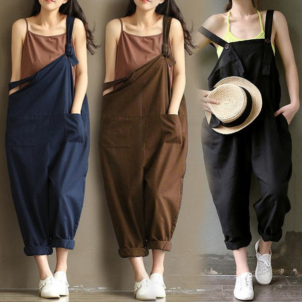 Casual Linen Loose Jumpsuit For Women