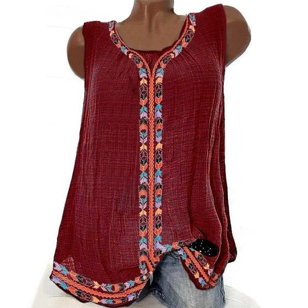 Plus Size Bohemian Embroidery Solid Color Vests