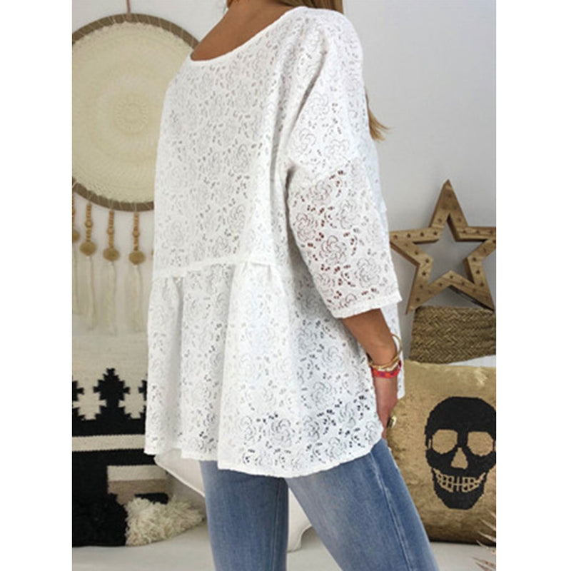 Lace Button Solid Color V Neck Casual Blouse