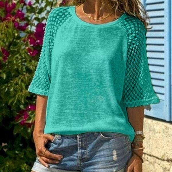 Plus Size Fashion Summer Women's Hollow Out Lace T-shirts