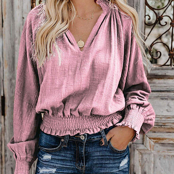 Casual V Neck Lantern Sleeve Blouse