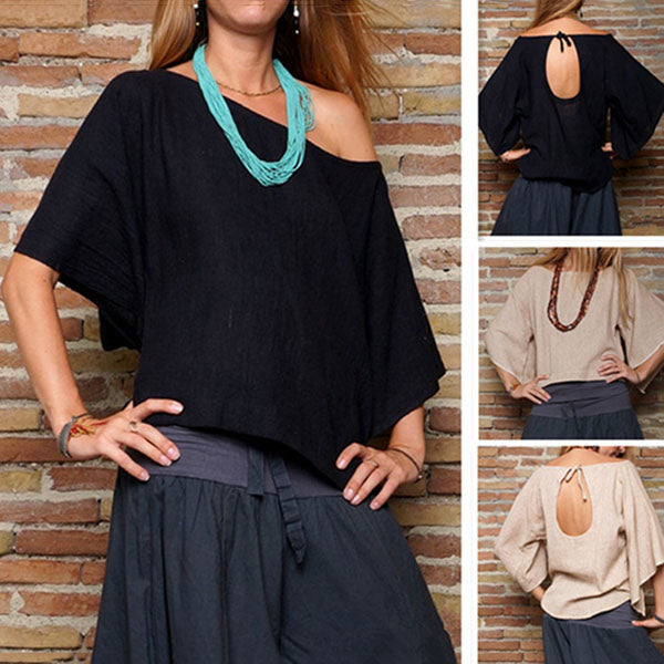 Casual Solid Color 1/2 Sleeved Round Neck Blouse