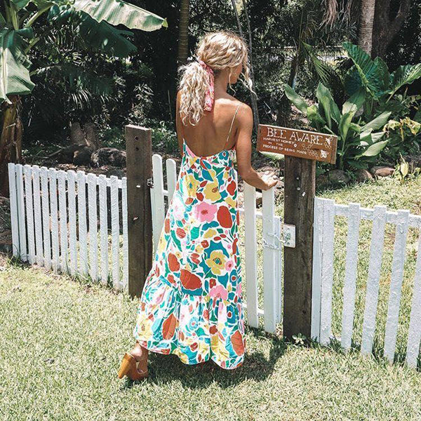 Vacation Flower Printed V Neck Dress