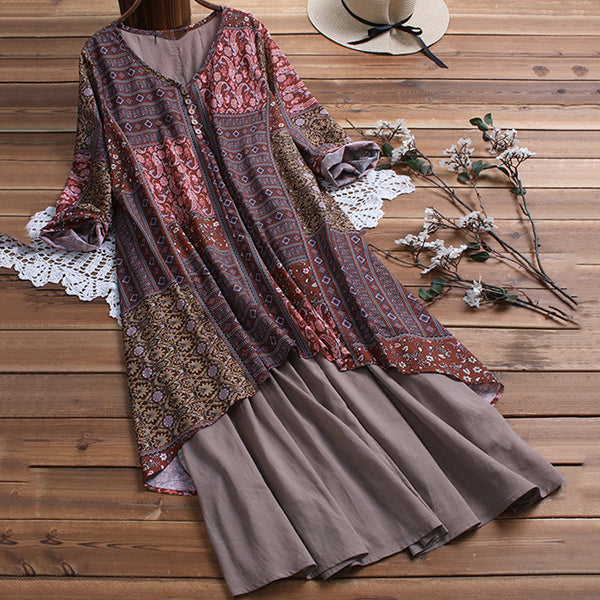 Elegant Printed Irregular Dress