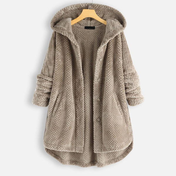 Ladies Winter Warm Hoodie Solid Coats