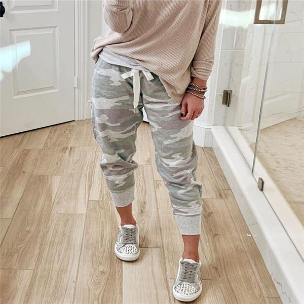 Women Camo Pattern Drawstring Jogger Pants