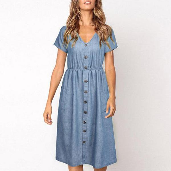Casual V Neck Button Solid Color Women Dress