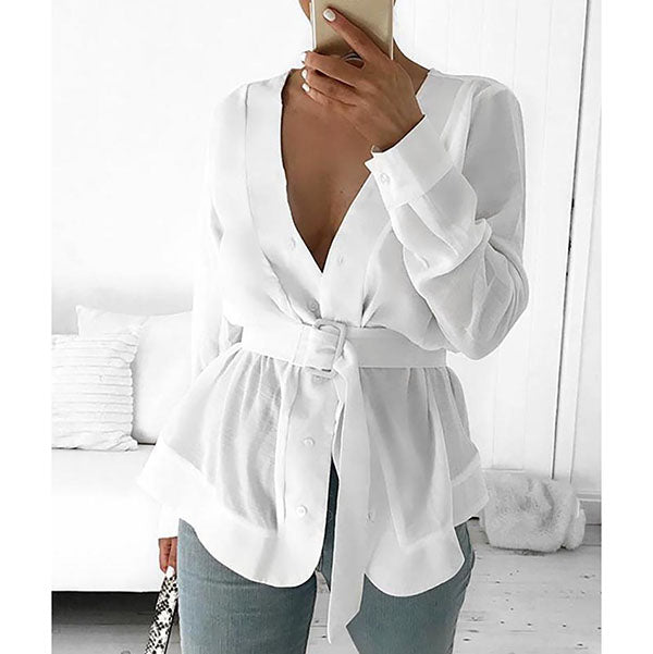 Women V Neck Belted Casual Blouses
