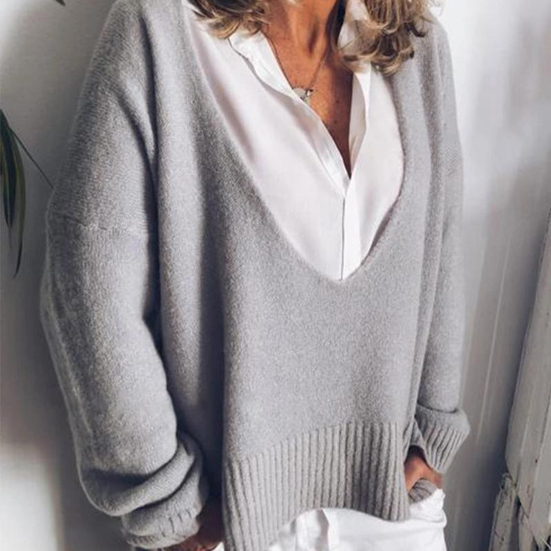 Women Autumn And Winter Fashion Deep V-Neck Plain Long-Sleeve Sweater
