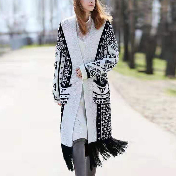 Fringed Women Long Sleeve Coat