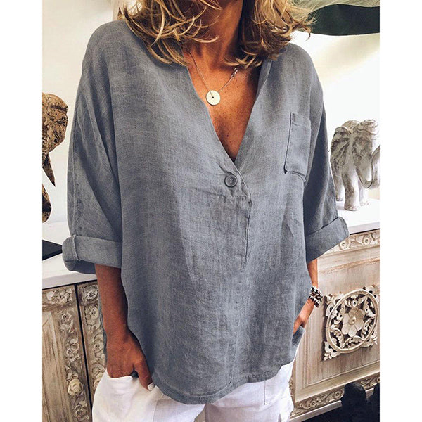 Loose Solid Long Sleeve Casual Blouses
