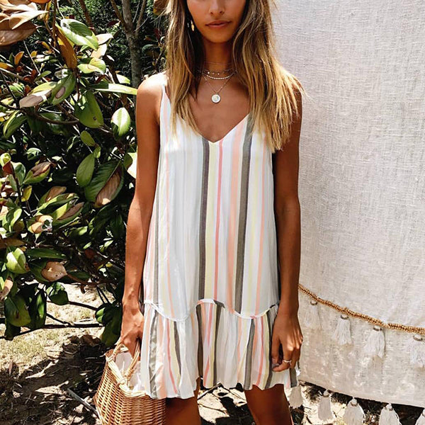 Casual V Neck Multicolor Stripe Sleeveless Dress
