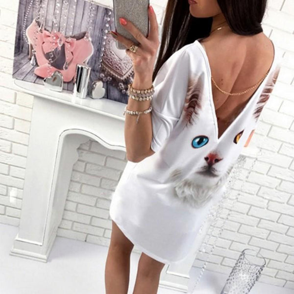 Women Summer Casual V-backless  Short-sleeved Printed Dress