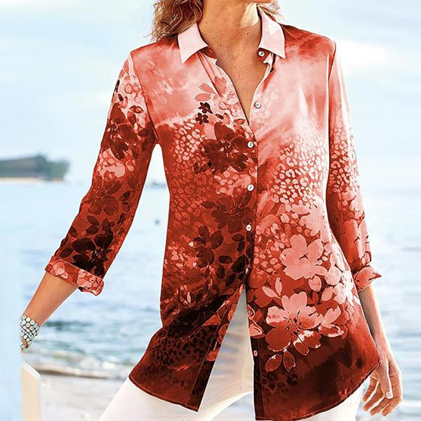 Vacation Floral Buttoned Shirt Collar Blouse