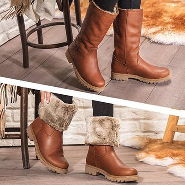 Winter Round Head Casual Low Heel Boots