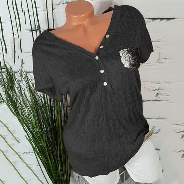 Casual Pocket Solid Color Blouse