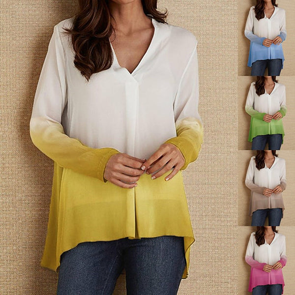 Women V Neck Long Sleeve Gradient Fall Blouses
