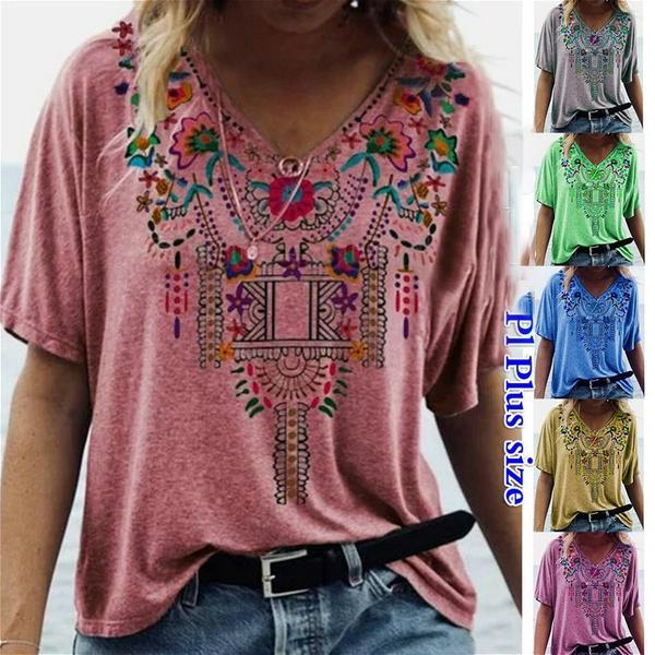 Women's New Summer Casual V Neck T-Shirts