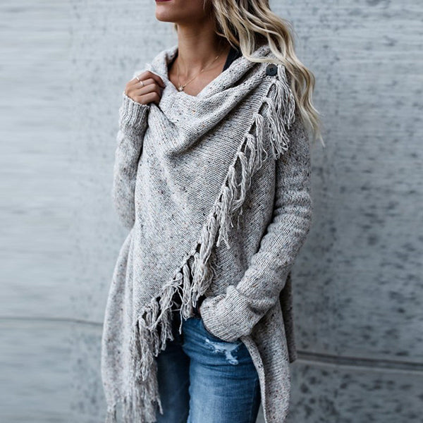 Women Irregular Tassel Shawl Sweater
