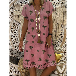 V Neck Women Dresses Daytime Printed Plus Size Dresses