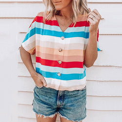 Casual V Neck Multicolor Blouse