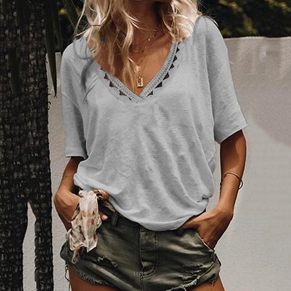 Daily V Neck Loose Hollow Comfortable Blouse