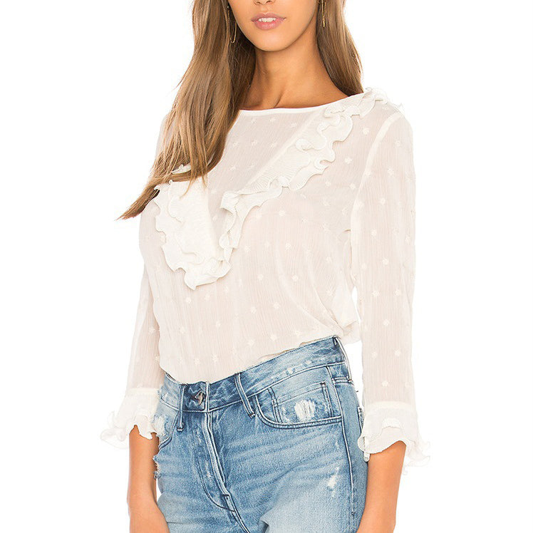 Women'S White Flower Point Lace Button Blouse
