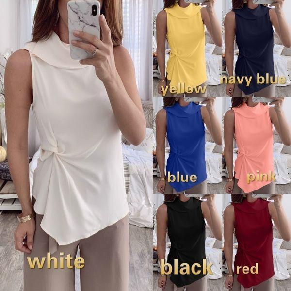 Women Summer Solid Color Irregular Hen Slim Fit  Blouse