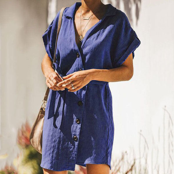 Solid Color Button Short Sleeve Dress