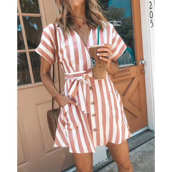Striped Deep V Neck Strap Summer Dress