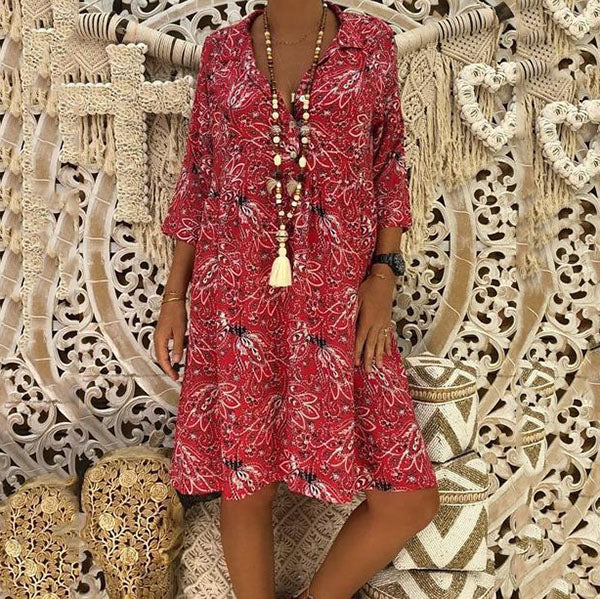 Plus Size V Neck Printed Dress