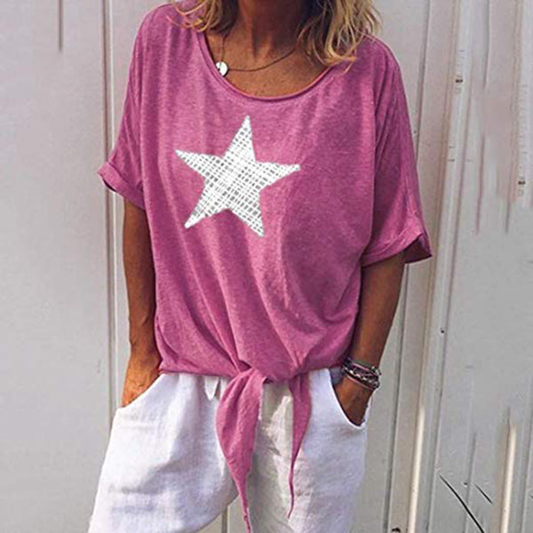 Star Printed Loose Solid Color Blouse