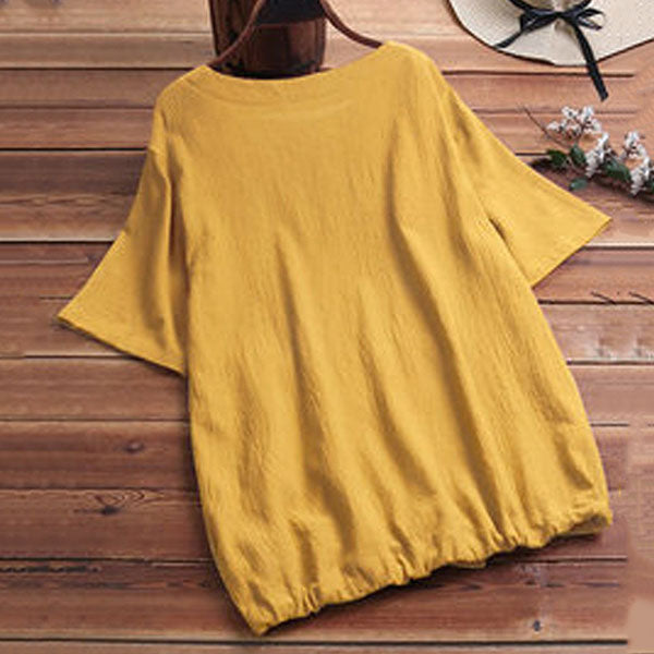Casual Solid Color Pocket Blouse