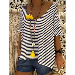 V Neck Batwing Striped Casual T-Shirts