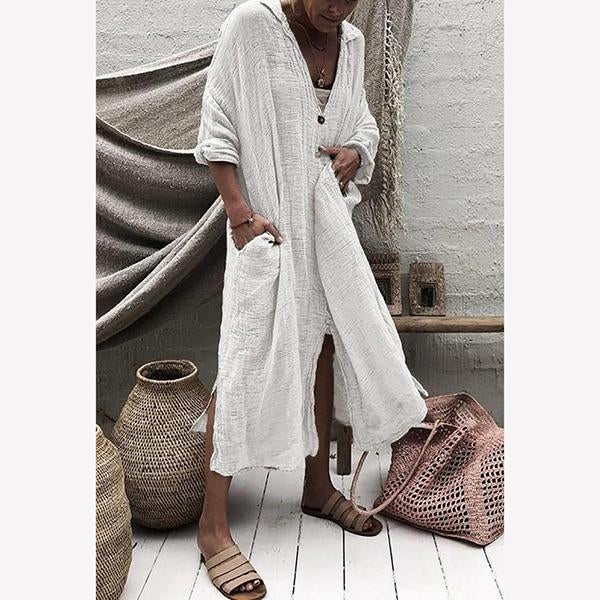Women Casual Button Down Irregular Maxi Dress
