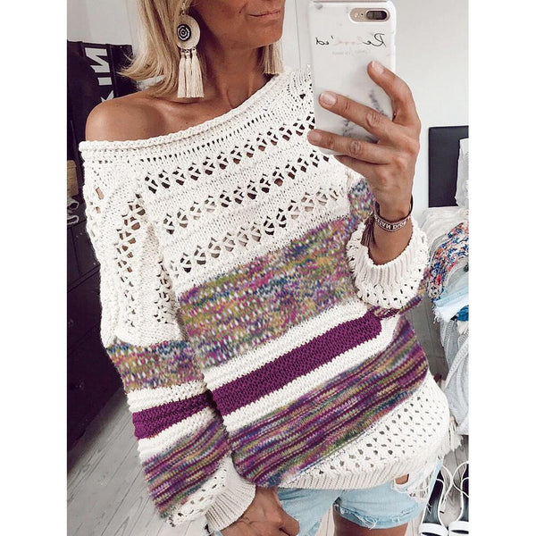 Printed Casual Loose Openwork Autumn Women's Sweater