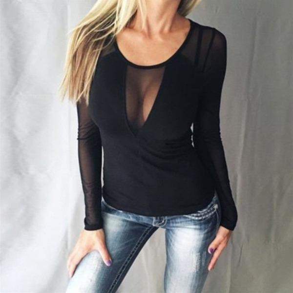 Plain Round Neck Long Sleeve See-Through Sexy Blouses