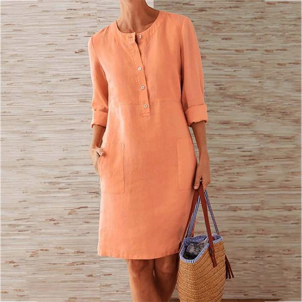 Elegant Solid Color Stand Collar Buttoned Dress