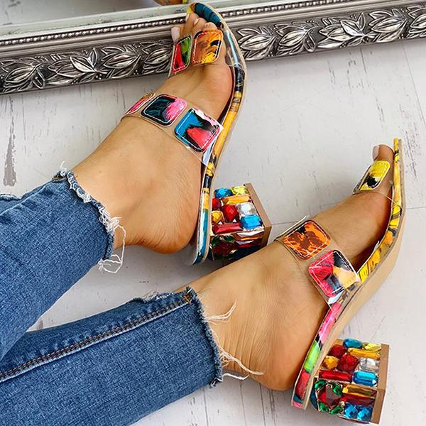Artificial Crystal Square Heels Summer Sandals