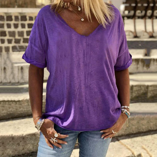 Plus Size V Neck Solid Color Daily Blouse