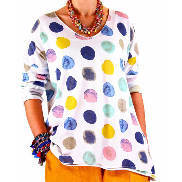 Casual Women Long Sleeve Polka Dot Blouses