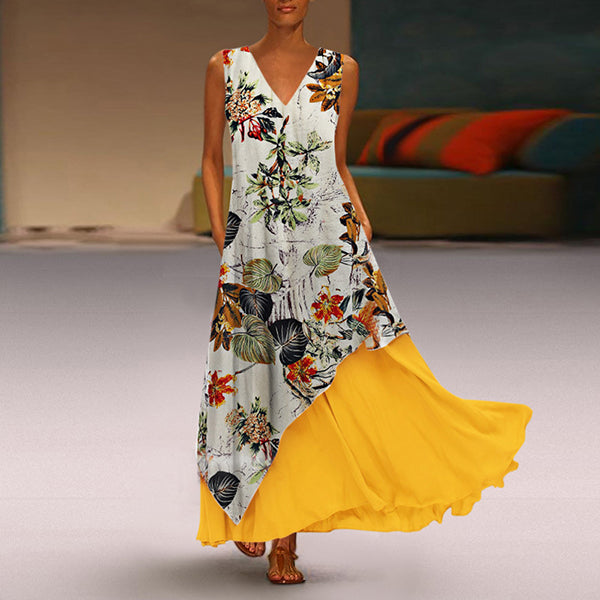Elegant V Neck Printed Maxi Dress