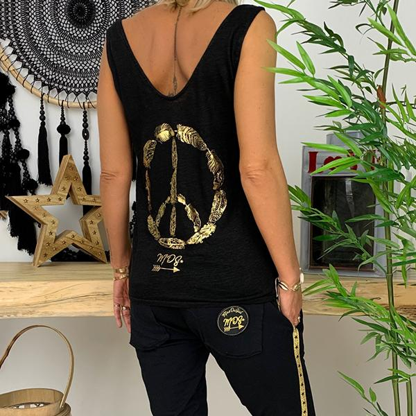 Casual Back Printed Sleeveless Vests