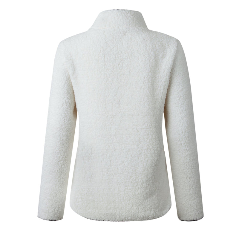 Lapel Zipper Pocket Long Sleeve Plush Sweatshirt