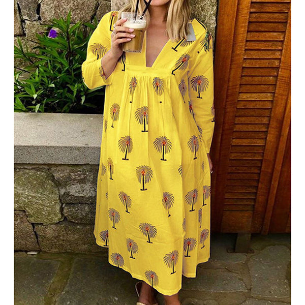 Long Sleeve Casual Print Women Summer Dresses