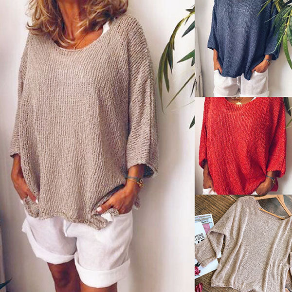 Fashion Round Neck Casual Blouse